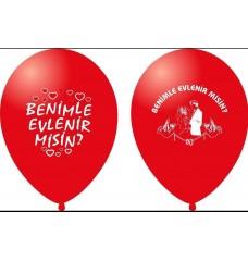 Balon Benimle Evlenirmisin Baskılı 20-50-100 adet